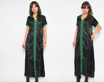 Vintage 90's Black Satin Hooded Tunic / Black Maxi Embellished Tunic Dress / Black Satin Hooded Dress