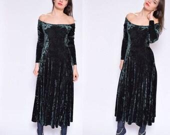Vintage 90's Dark Green Velvet DRess / Shoulderless Green Velvet Dress / Off The Shoulder Maxi Dress / Long Sleeve Velvet Dress - Size Small