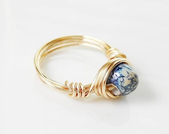 Wire Wrapped Ring with Handmade Blue Ceramic Bead - Pretty!