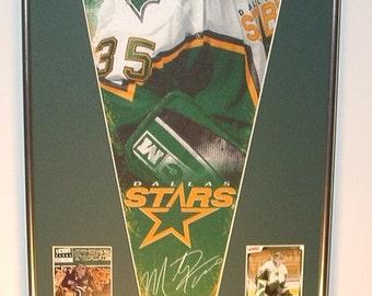 Dallas Stars Hockey Player Pennant Marty Turco & Cards Retrospective...Custom Framed!!!