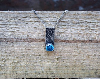 Solid silver handmade blue cubic zirconia pendant, silver necklace, vintage inspired, victoriana, boho, bohemian, gifts for her