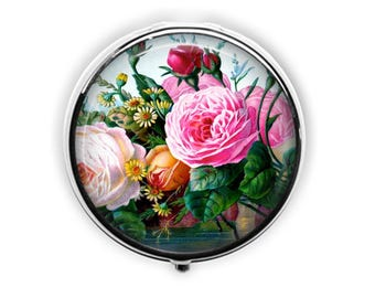 Pink cabbage rose pill case floral pill box mothers day gift flower ring box stash mint container.