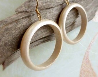 Wooden boho earrings , 5th anniversary gift , Wood hoops ,  Circle earrings gift , Wooden hoop earrings
