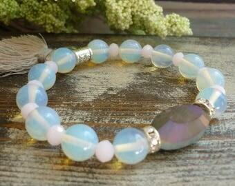 opalites bracelet, focal crystal bracelet, light pink crystal bracelet,grey tassel bracelet,rondelle rhinestones bracelet, bijouxgeisha