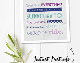 Inspirational word art, square digital download quote print, motivational quote, printable wall art quotes, printable quotes, enjoy the ride