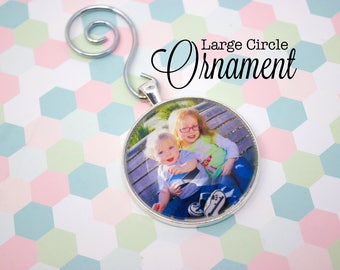 Personalized Photo Ornament - Custom Photo Ornament - Picture Ornament - Large Circle Ornament - 38 mm Circle