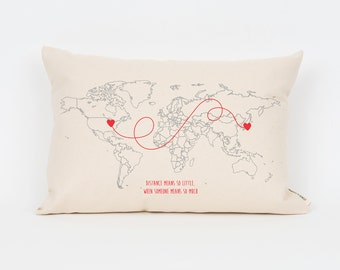 Personalized Pillow, Long Distance Pillow, Anniversary Gift, Travel Pillow, Military Spouse, Gift for Him, Far Apart, World Map, Cool Gift