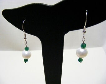 White Freshwater Cultured Pearl, Green Onyx and Sterling Silver Earrings.