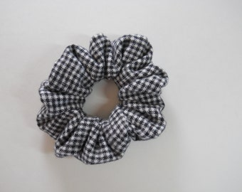 Black and White Flannel Check Scrunchie / Hounds Tooth Flannel Hair Accessory