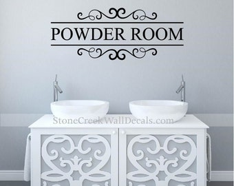 Powder Room Wall Decor powder room decal | etsy