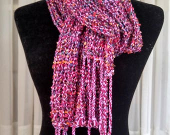Hand-woven lacy mesh light-weight scarf in lilac dark red sparkles   multicolor leno lace scarf   loose woven lace scarf   light woven scarf