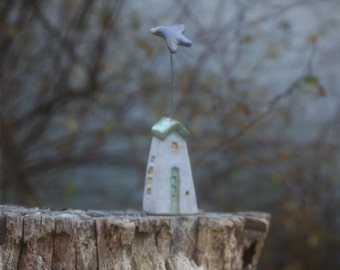 bluebird of happiness flying over miniature house, OOAK hand carved stoneware clay