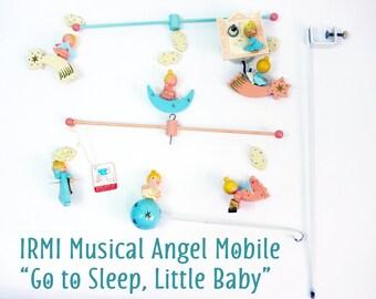 Retro Mid Century IMRI Musical Baby Mobile Original Box w/ Tags - Handpainted Angels Plays Go to Sleep Little Baby - Crib Nursery Decor