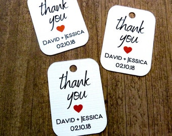 Personalized Tag - Wedding Favor Tags  - 45 Count - 1.75 x 1.25 in - Thank You Tags  - Wedding Tags - Rustic Wedding - Wedding Gift Tags WT8