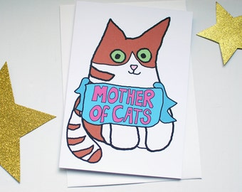 Mother's Day card from the cat - Mother of cats funny card for cat lover - ginger cat card - cat greetings cards
