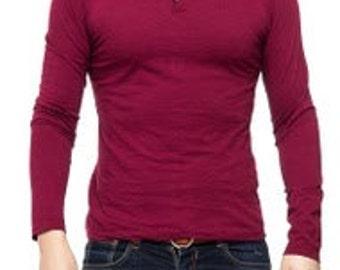 Tunisian Collar Cotton Tee Shirt.