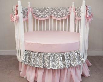 Gray Damask Light Pink Baby Girl  Round Crib Cot Bedding