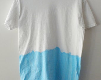 Tie dye Tee Shirt, Acid Wash, Grunge Tee shirt, graphic, retro, hippie Tee shirt, faded, dip dye white, Blue, retro, rocker, vintage retro