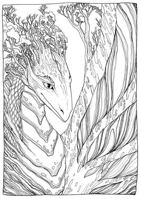 Printable Coloring Pages Zen : Adult coloring page fantasy tree dragon doodle printable colouring