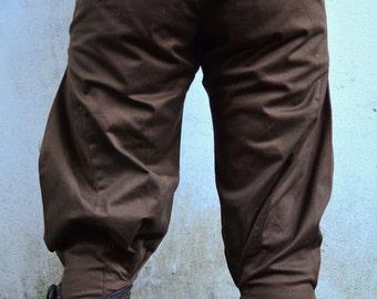 Men's Rackam Brown long Shorts stretch denim leather- Burning man| festival clothing| pantaloons| pirate pants