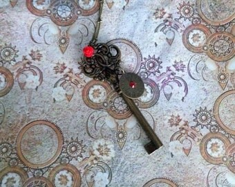 Eternal Love. Steampunk Key Necklace with Red Rose & Timepeice. Red Swarovski Crystal.