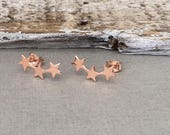 Shiny Rose Gold Star Ear Crawlers, Pink Star Ear Climbers, Rose Gold Star ear cuffs, Moderd Ear Climbers, 14kt rose gold filled ear climbers