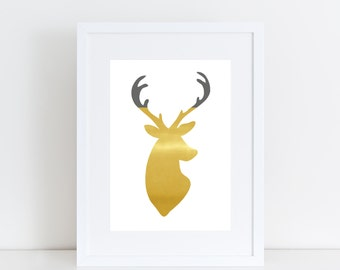 Deer antler silhouette printable - colour blocking art - faux gold and gray | INSTANT DOWNLOAD | home xmas decor, DIY art, gallery wall