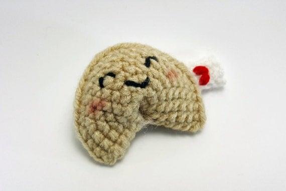 Amigurumi Fortune Cookie Pattern : Happy crochet amigurumi fortune cookie plushie
