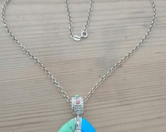 Vintage sterling silver turquoise and gemstones pendant and chain