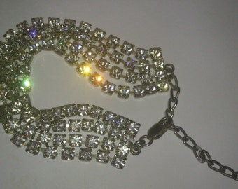 vintage sterling silver diamante bracelet four strands