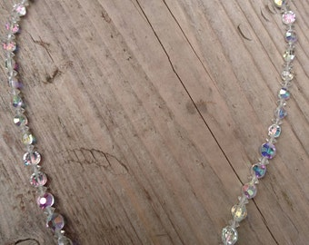 Vintage faceted glass Iridescent bead necklace