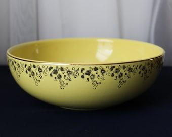 "HALL'S Superior Quality Kitchenware Retro Yellow Bowl Gold Floral Band Trim 9"" Diameter"
