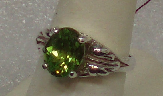 Apple Green Tourmaline Sterling Silver Ring