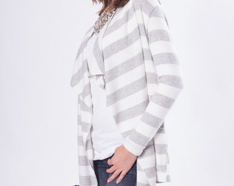 Gray Stripe Sweater Cardigan / Women Cardigan / Long Cardigan