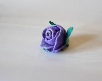 felted flower, woolen accessory, purple, violet, blue, gift for her