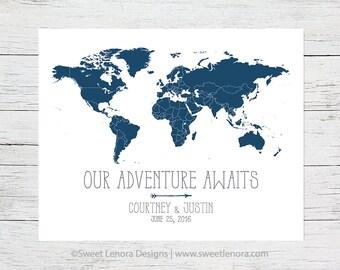 Push Pin Our Adventure Awaits World Map | Cork Foam Travel | 16x20 | 18x24 Personalized | Custom | Wedding Anniversary Valentine Gift