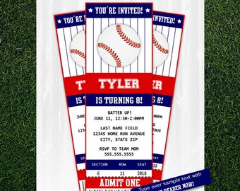 Baseball Invitations - Baseball Birthday Invitations - Baseball Ticket - Baseball Party Invitations - Downloadable and EDITABLE File!!