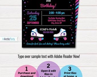 Roller Skating Invitations, Roller Skating Birthday Party Invitations - Roller Skate Invitations - INSTANTLY Downloadable & Editable File!