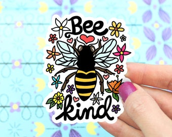 Bee Kind Vinyl Sticker, Save The Bees, Flowers, Hornet, Honey Bee, Car Decal, Windshield Decal, Yeti Sticker, Hand Illustrated, Bee Art
