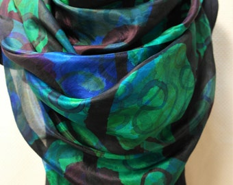 Silk shawl for women. Blue,green scarf, wrap, handmade.