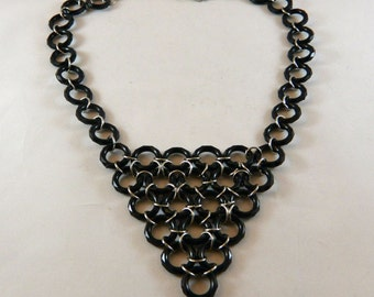 Black Chainmaille Statement Necklace