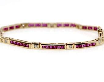 Sale! 14k Yellow Gold Diamond and Ruby Bracelet
