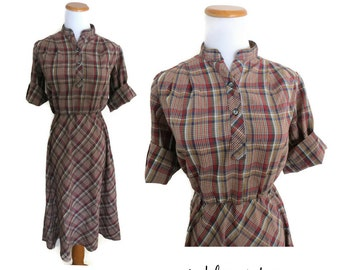 Plaid Dress 70s Indie Hipster Midi Brown Burgundy Navy Size Small Retro Soft Thin 1970s Hippie Boho