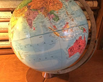 """Vintage 12"""" Replogle Stereo Relief Globe from 1950s"""