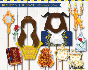 Beauty and The Beast Props digital printable for 2017 Belle Birthday Party. Beauty and the beast Photobooth Props. Digital PDF.