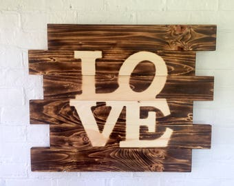Love Philadelphia style burned wood sign- Man Cave Sign