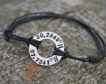 Latitude Longitude Bracelet, Coordinate Bracelet, Washer Bracelet, GPS, Anniversary gifts for men, Long Distance Gift, 10th Year Anniversary