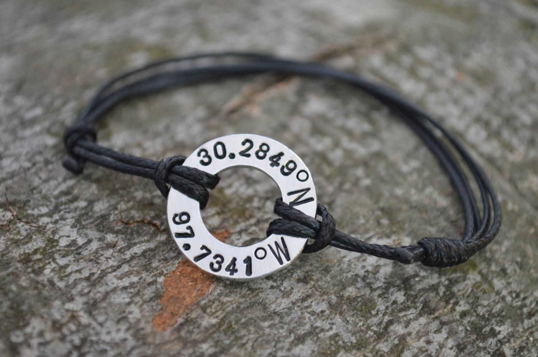 Latitude Longitude Bracelet Coordinate Bracelet Washer