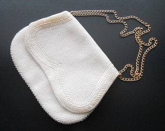 50s, 60s vintage bag - cream beaded bag - 50s/60s Too Faced bag