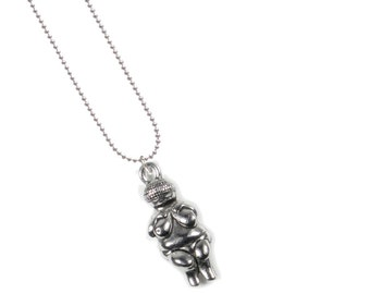Silver Plated, Chain Necklace with 3-D, Antique Pewter, Venus of Willendorf charm, Qty:1